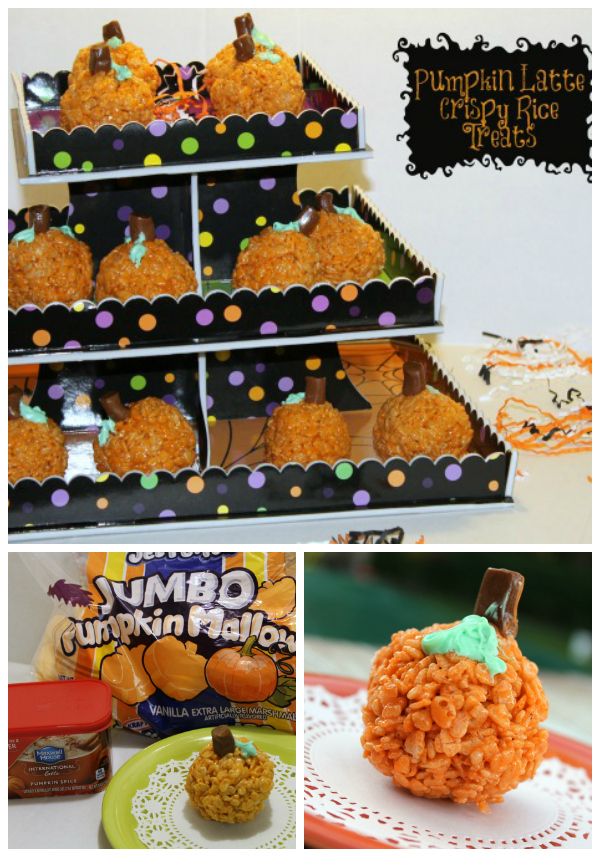 Pumpkin latte crispy rice treats Collage