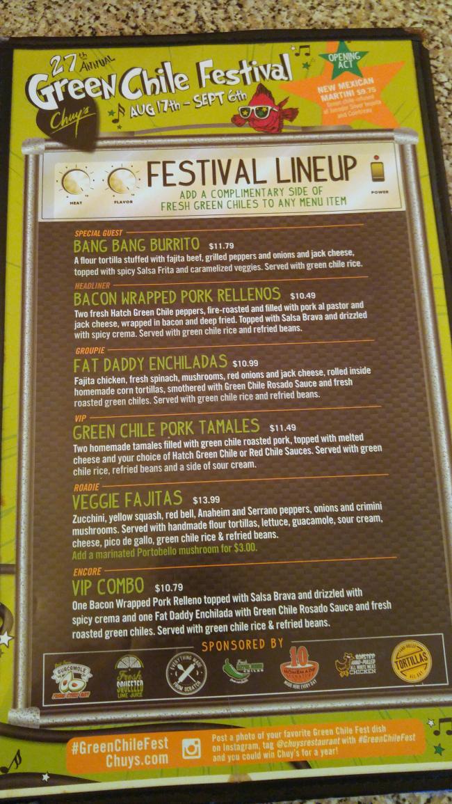 green chile festival menu