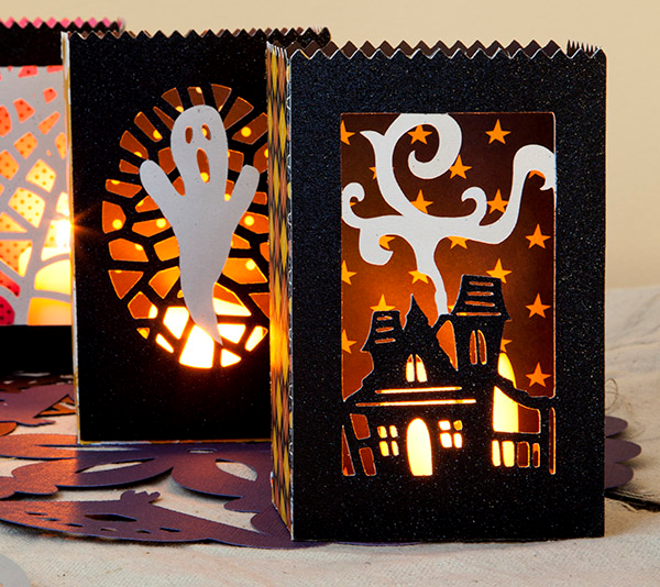 decorate for fall with cricut halloween luminaries
