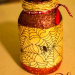 Halloween Glitter Mason Jar Candle Tutorial