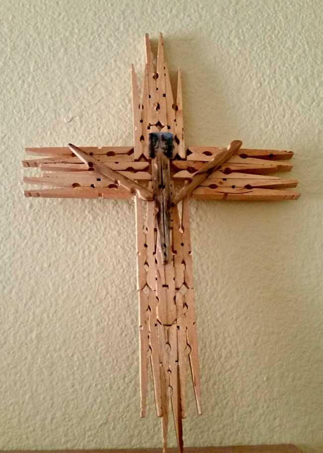 Handmade Wooden Clothespin Cross