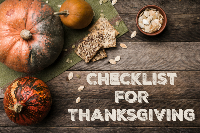 checklist for thanksgiving