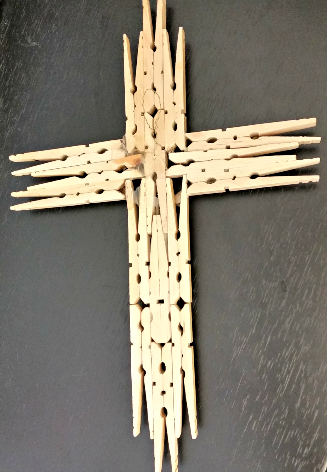 wooden clothespin cross