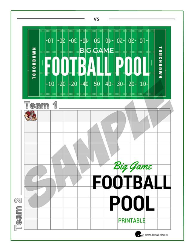 photograph about Printable Football Pool known as Huge Match Soccer Pool Printable - Daily life With Lisa