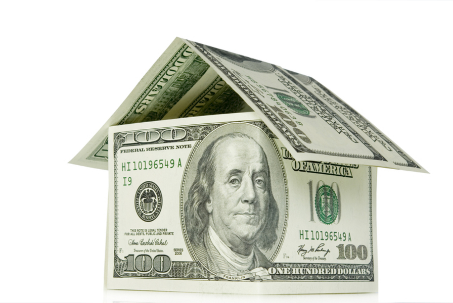Money house on white background