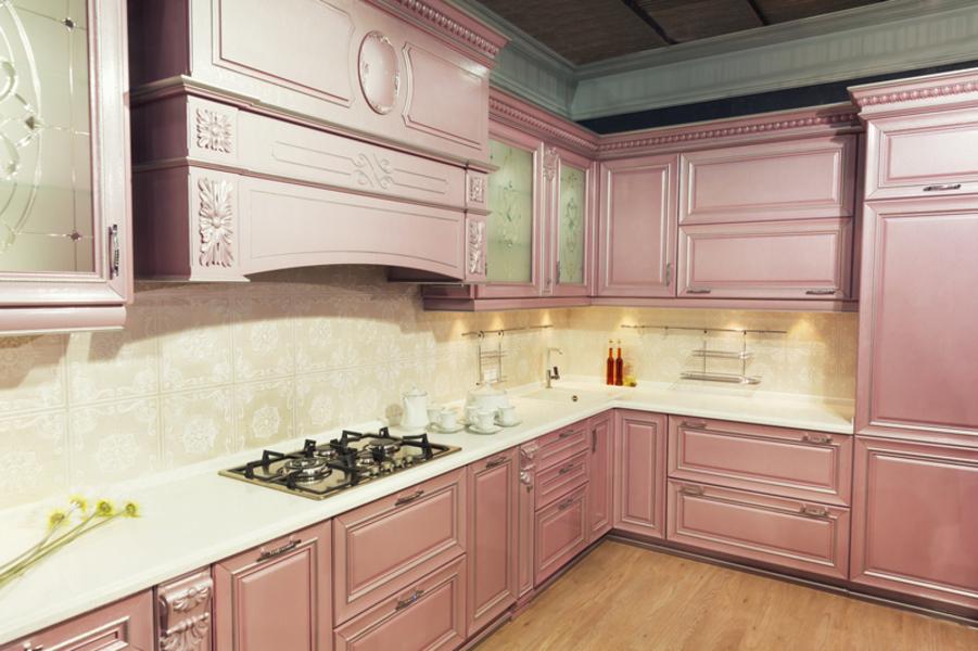 Beautiful custom kitchen interior design in patel colors