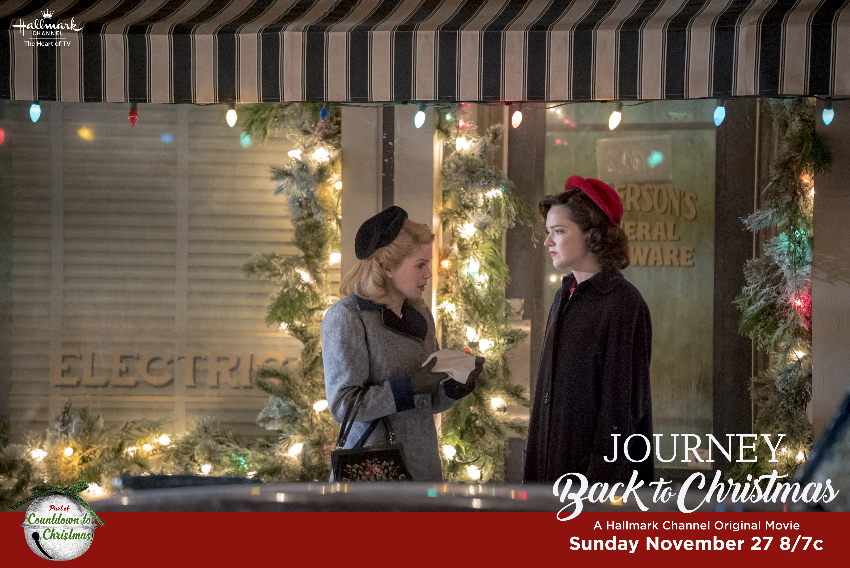 WWII has ended and Hanna is still grieving over her husband's disappearance. When the Christmas Comet appears for the first time in 70 years, Hanna is caught in a terrible storm and knocked unconscious. When she wakes up, she's in 2016. A handsome policeman comes to her rescue and offers to let her stay at his family's farmhouse. Despite suspicions about her past, the family takes her in. Hanna looks to unravel the truth about what happened to her and in doing so, discovers the small kindnesses she did in her time have reverberated to the present. She helps Jake and his family appreciate the magic of Christmas and will find her way back home and get the one Christmas gift she could only dream of, her husband.  Photo:Candace Cameron Bure,  Credit: Copyright 2016 Crown Media United States LLC/Photographer: Allen Fraser